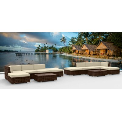 Dana 12 Piece Deep Seating Group with Cushion Fabric: Beige, Frame Finish: Brown