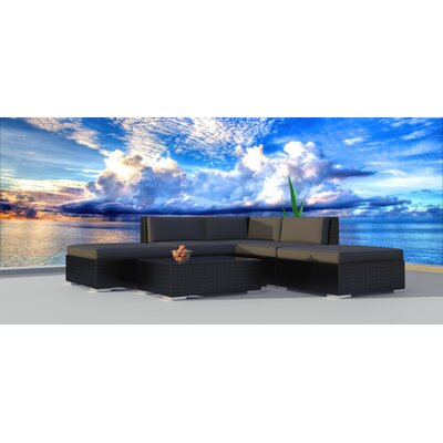 Dana 6 Piece Deep Seating Group with Cushion Frame Finish: Black, Fabric: Charcoal