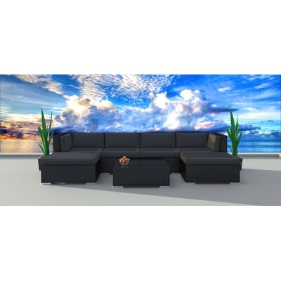 Dana 7 Piece Deep Seating Group with Cushion Frame Finish: Black, Fabric: Charcoal