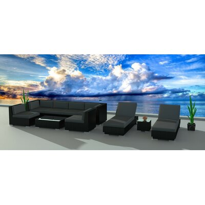 Dana 19 Piece Deep Seating Group with Cushion Frame Finish: Black, Fabric: Charcoal