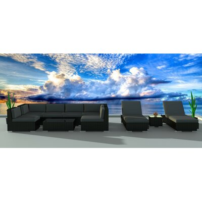 Dana 10 Piece Deep Seating Group with Cushion Frame Finish: Black, Fabric: Charcoal