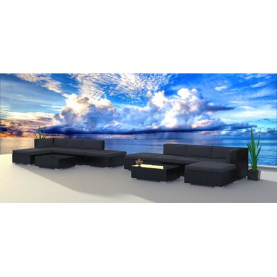 Dana 12 Piece Deep Seating Group with Cushion Frame Finish: Black, Fabric: Charcoal