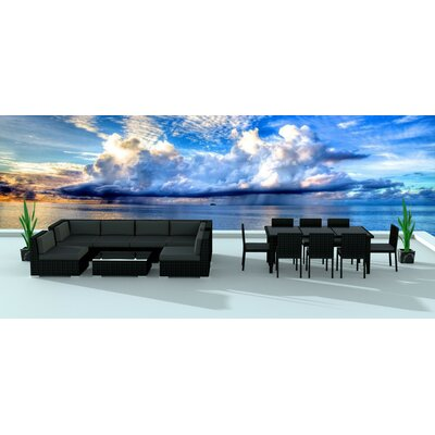 Dana 16 Piece Deep Seating Group with Cushion Frame Finish: Black, Fabric: Charcoal