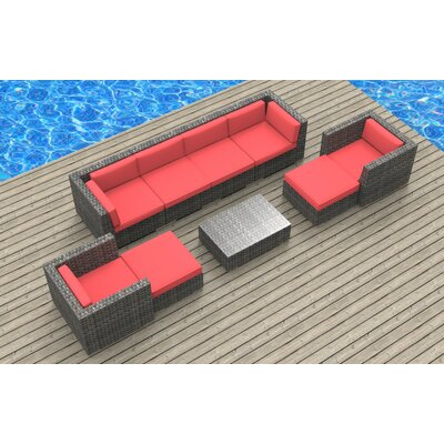 Karla 9 Piece Deep Seating Group with Cushion Fabric: Coral Red