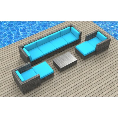 Karla 9 Piece Deep Seating Group with Cushion Fabric: Sea Blue