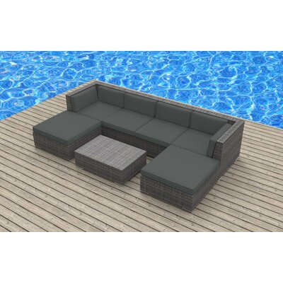 Madeleine 7 Piece Deep Seating Group with Cushion Fabric: Charcoal