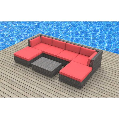 Madeleine 7 Piece Deep Seating Group with Cushion Fabric: Coral Red