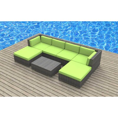 Madeleine 7 Piece Deep Seating Group with Cushion Fabric: Lime Green