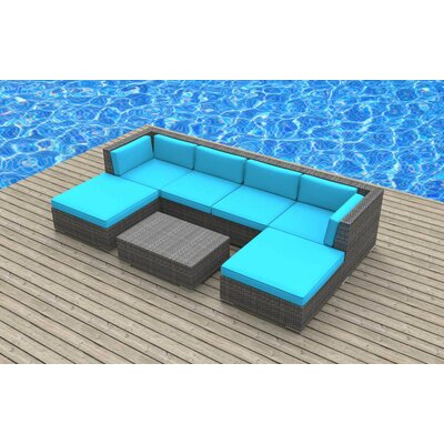 Madeleine 7 Piece Deep Seating Group with Cushion Fabric: Sea Blue
