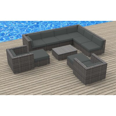 Karla 11 Piece Gray Deep Seating Group with Cushion Fabric: Charcoal