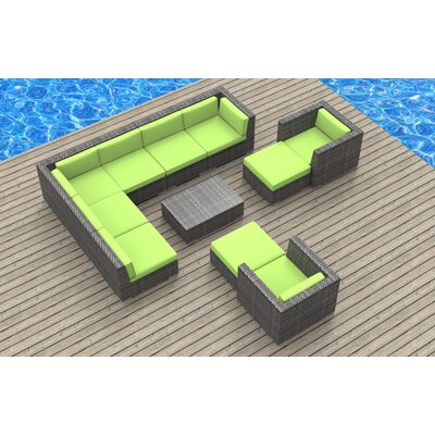 Karla 11 Piece Gray Deep Seating Group with Cushion Fabric: Lime Green