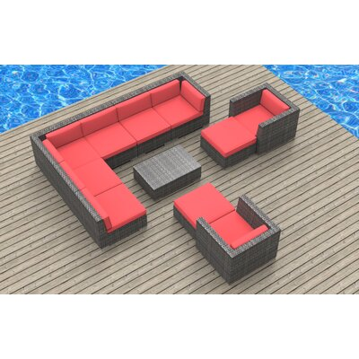 Karla 11 Piece Gray Deep Seating Group with Cushion Fabric: Coral Red