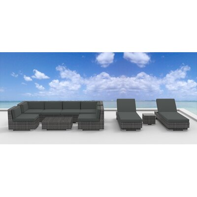 Mckenna 10 Piece Deep Seating Group with Cushion Fabric: Charcoal