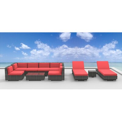Mckenna 10 Piece Deep Seating Group with Cushion Fabric: Coral Red