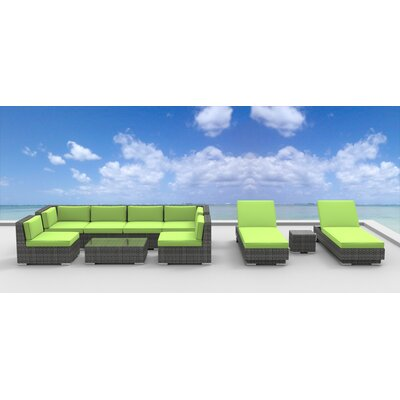 Mckenna 10 Piece Deep Seating Group with Cushion Fabric: Lime Green