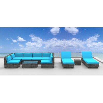 Mckenna 10 Piece Deep Seating Group with Cushion Fabric: Sea Blue