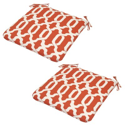 Shirley 2 Piece Outdoor Fabric Dining Chair Cushion Fabric: Coral