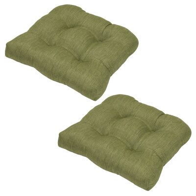 Tufted Outdoor Dining Chair Cushion Fabric: Green