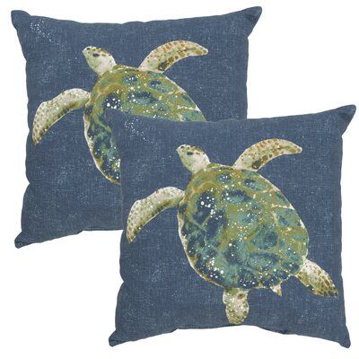 Toulouse Turtle Print Outdoor Throw Pillow