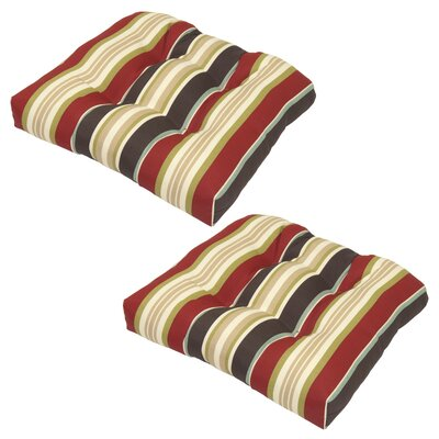 Suzanne Fabric Outdoor Dining Chair Cushion with Ties