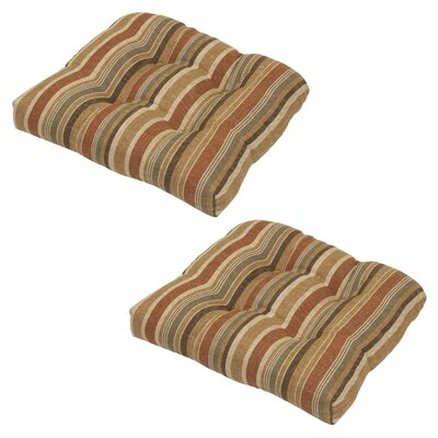 Michele 2 Piece Outdoor Dining Chair Cushion with Ties