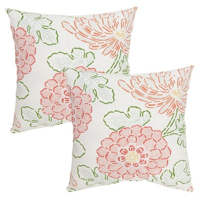 Stenciled Floral Outdoor Throw Pillow