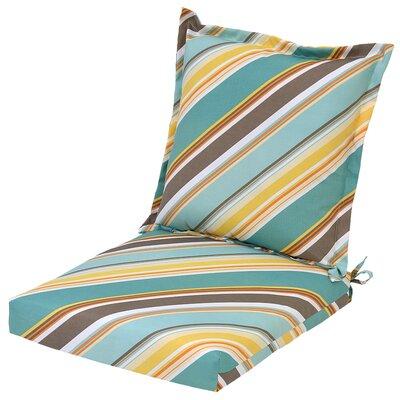 Allegra Stripe Pillow Back Outdoor Dining Chair Cushion