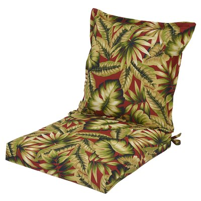 Arbury Pillow Back Outdoor Dining Chair Cushion with Ties