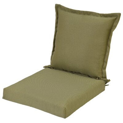 Reversible Pillow Back Outdoor Dining Chair Cushion
