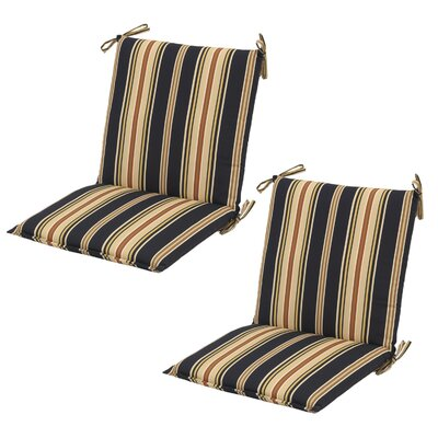 Sachiko Stripe Mid-back Outdoor Dining Chair Cushion with Ties