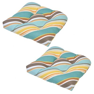 Allegra Stripe Tufted Outdoor Seat Cushion
