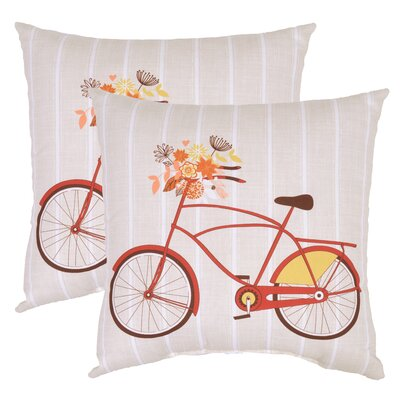 Newport Bike Engineered Outdoor Throw Pillow (Set of 2)
