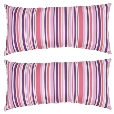 Archibald Stripe Outdoor Lumbar Pillow (Set of 2) Color: Pink