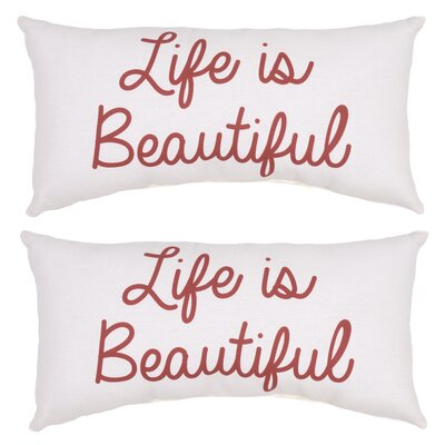 Karson Life is Beautiful Outdoor Lumbar Pillow (Set of 2)