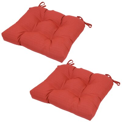 Red Tufted Seat Pad Outdoor Chair Cushion (Set of 2)