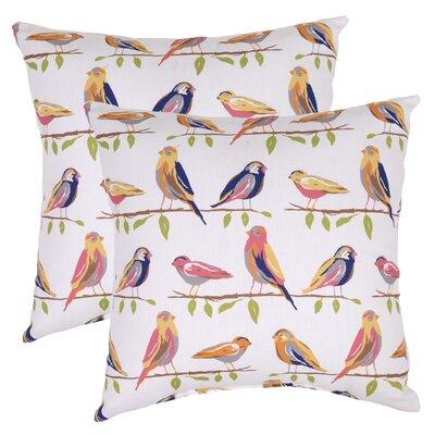 Birds Outdoor Throw Pillow (Set of 2) Color: White/Orange