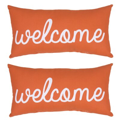 Welcome Outdoor Lumbar Pillow (Set of 2) Color: Orange