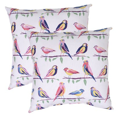 Birds Outdoor Throw Pillow (Set of 2) Color: White/Pink