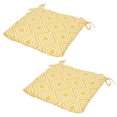 Seat Pad Outdoor Chair Cushion (Set of 2) Fabric: Yellow