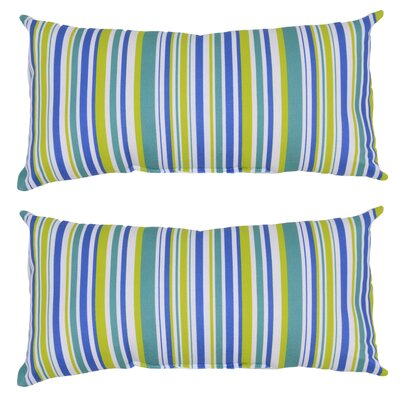 Archibald Stripe Outdoor Lumbar Pillow (Set of 2) Color: Blue