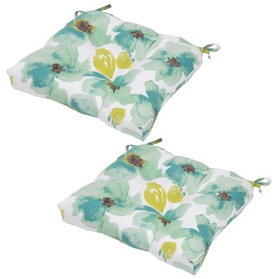 Floral Seat Pad Outdoor Chair Cushion (Set of 2)