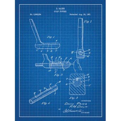 Sporting Goods 'Golf Putter' Silk Screen Print Graphic Art in Blue Grid/White Ink SP_SPRT_2,998,254_BG_24_W