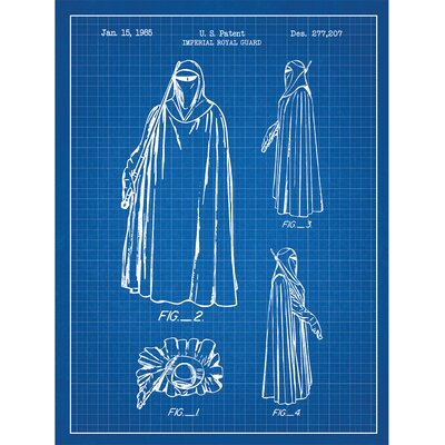 Sci-Fi and Fantasy 'Star Wars Characters: Imperial Royal Guard' Silk Screen Print Graphic Art in Blue Grid/White Ink SP_SYFI_277,207_BG_24_W