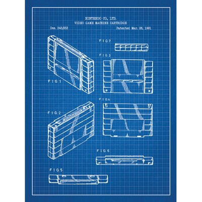 Gaming 'Video Game Machine Cartridge' Silk Screen Print Graphic Art in Blue Grid/White Ink SP_VIDG_343,833_BG_24_W