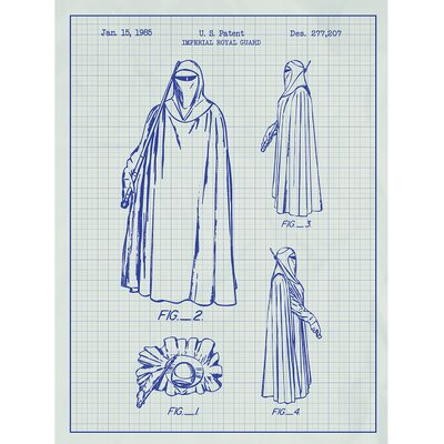 Sci-Fi and Fantasy 'Star Wars Characters: Imperial Royal Guard' Silk Screen Print Graphic Art in White Grid/Blue Ink SP_SYFI_277,207_WG_24_A