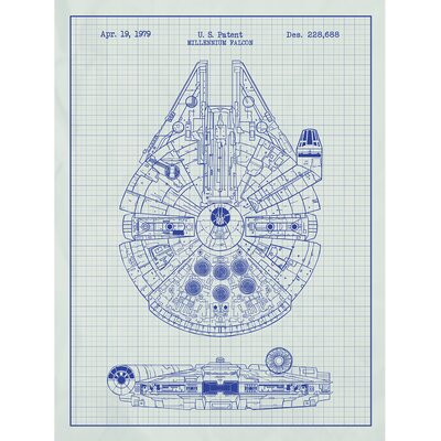 Sci-Fi and Fantasy 'Star Wars Millennium Falcon 1979' Silk Screen Print Graphic Art in White Grid/Blue Ink
