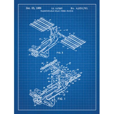 Tech and Gadgets 'Transportable Solar Power Station' Silk Screen Print Graphic Art in Blue Grid/White Ink