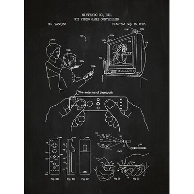 Gaming 'WII VIDEO' Silk Screen Print Graphic Art in Chalkboard/White Ink SP_VIDG_8,430,753_CH_24_W