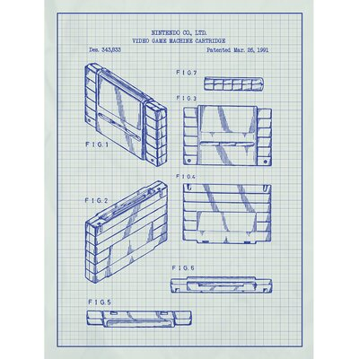 Gaming 'Video Game Machine Cartridge' Silk Screen Print Graphic Art in White Grid/Blue Ink SP_VIDG_343,833_WG_24_A
