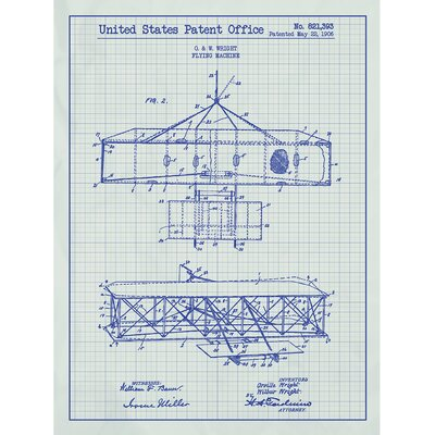 Vintage Inventions 'Wright Flying Machine 1906' by Wright Bros. Silk Screen Print Graphic Art in White Grid/Blue Ink